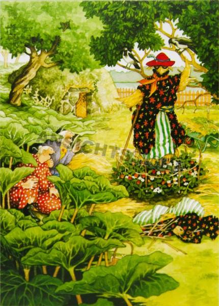 Postkarte Frauen bauen Vogelscheuche (I.Löök)