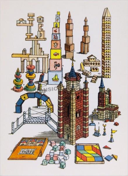 Postkarte Alte und neue Baukästen
