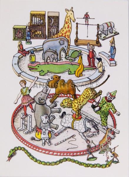 """Postkarte """"Menagerie und Zirkus"""""""