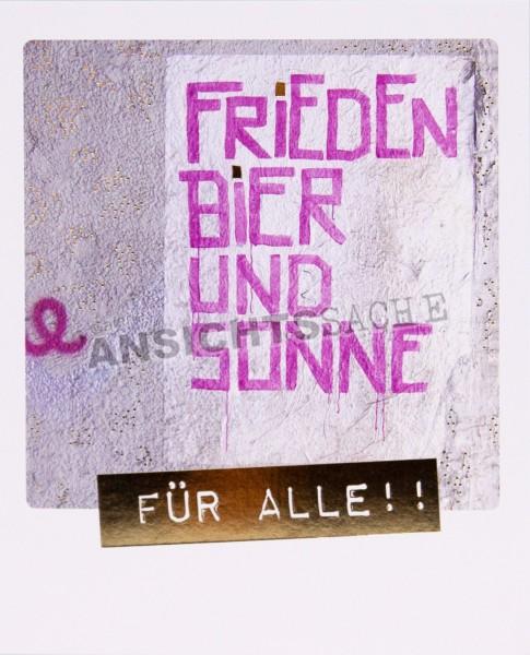 """Polacard """"Frieden, Bier & Sonne - Für Alle!!"""""""