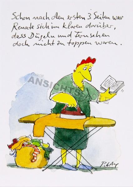 "Postkarte ""Bügeln & Lesen"""