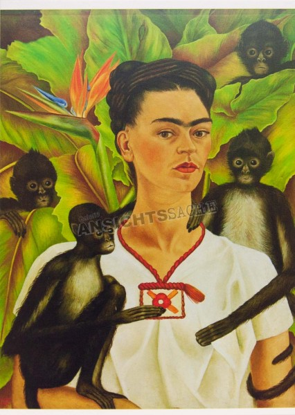 "Postkarte ""Frida Kahlo - Selbstbildnis mit Affen"""