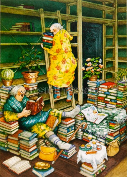 Postkarte Frauen lesen (I.Löök)
