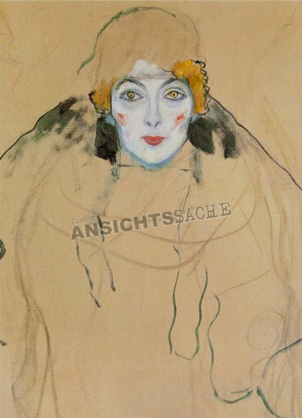 """Postkarte """"Gustav Klimt - Damenportrait en face"""""""