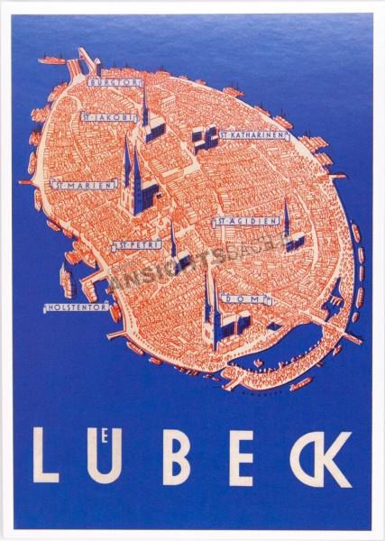 Postkarte Lübeck aus der Vogelschau - A.Mahlau