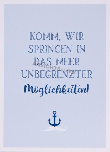 "Postkarte ""Komm, wir springen in das Meer.."""