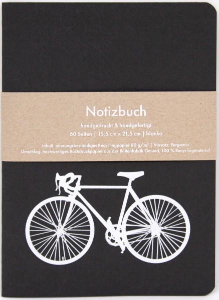 Notizbuch Rennrad in schwarz