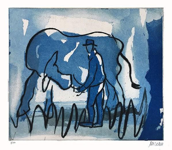 Blaue Kuh und Melkersmann