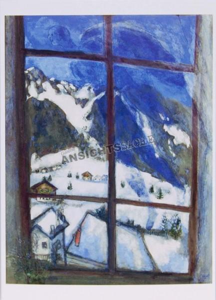 """Postkarte """"Marc Chagall - Nachstimmung oder Winternacht oder Engel über dem Dorf"""""""