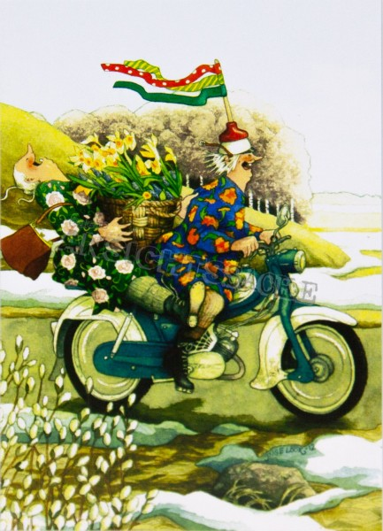 Postkarte Frauen auf Motorrad (I.Löök)