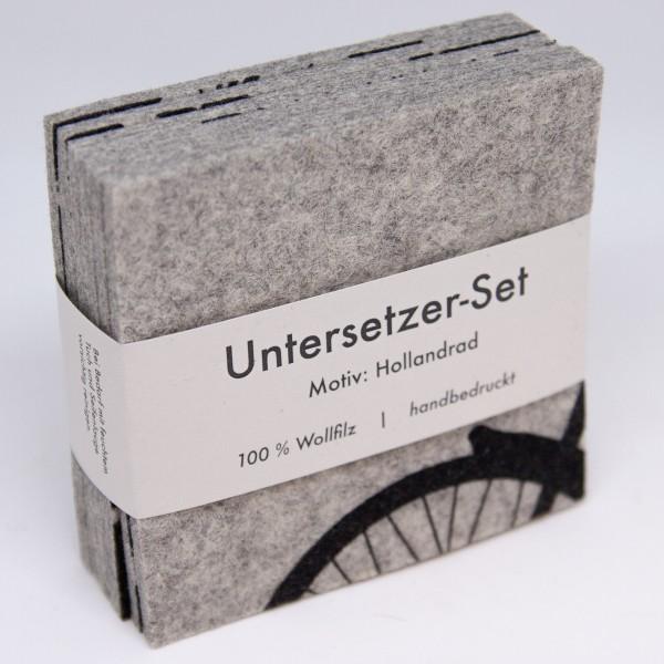 "hellgraues Untersetzer-Set ""Hollandrad"""