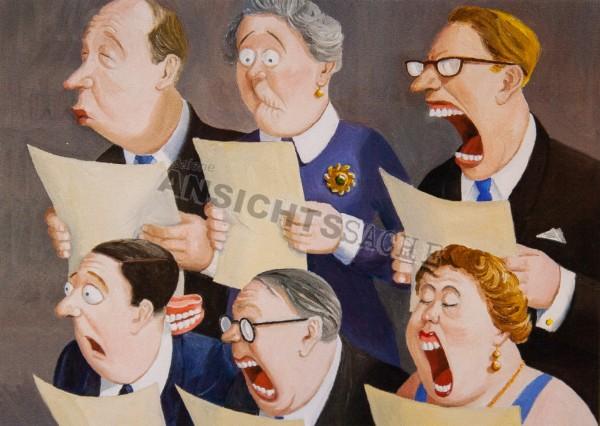 Weihnachtskarte Chor - Sängerin verliert Gebiss