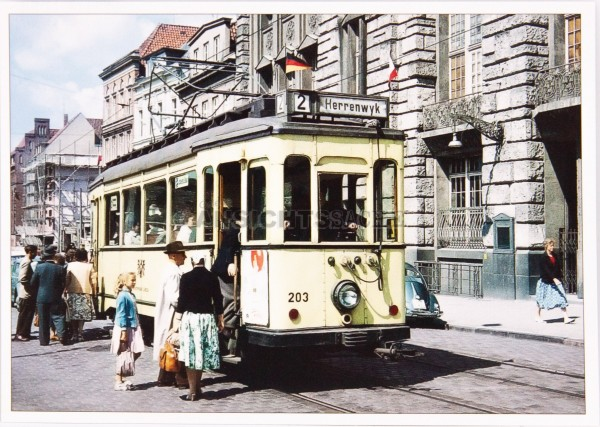 Postkarte Straßenbahn in der Beckergrube , 1958