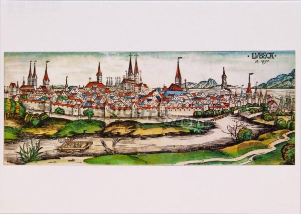 Postkarte Lübeck Ansicht von Osten 1490