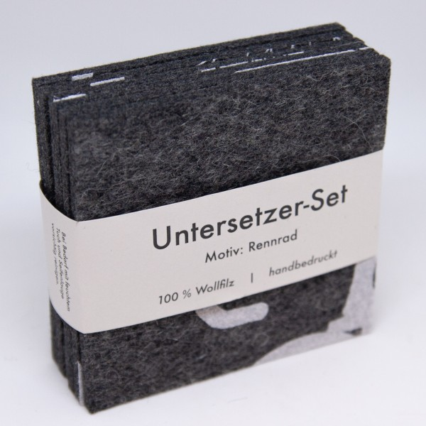 """dunkelgraues Untersetzer-Set """"Rennrad"""""""