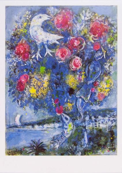 """Postkarte """"Marc Chagall - La Baie des anges au bouquet de roses"""""""