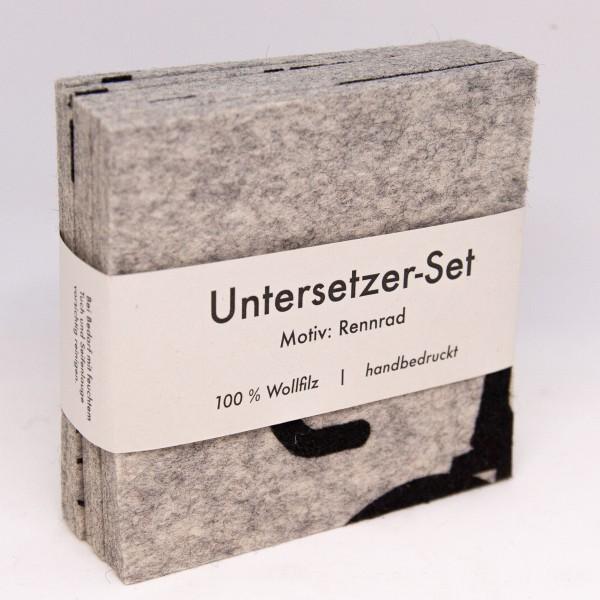 """hellgraues Untersetzer-Set """"Rennrad"""""""