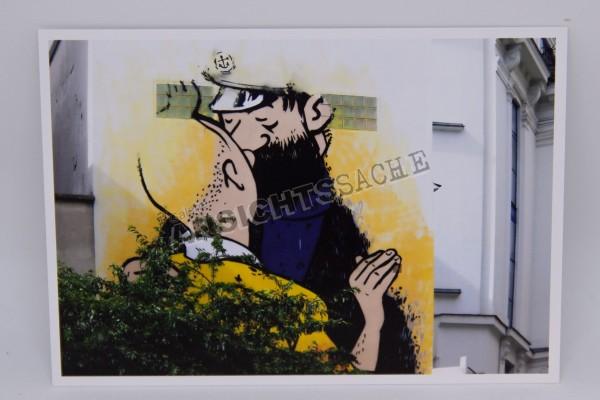 Postkarte Grafitti Tim & Struppi