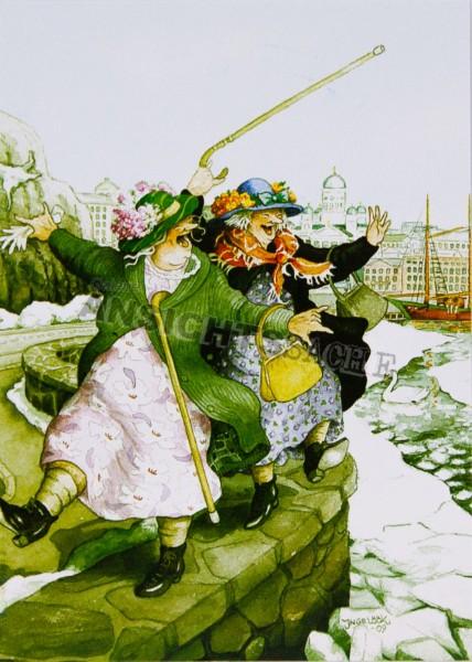 Postkarte Frauen auf Hafenmauer (I.Löök)
