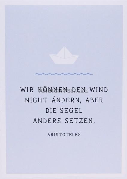 """Postkarte """"Wir können den Wind nicht ändern, aber.."""""""