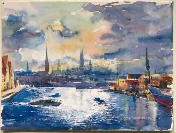 """Aquarell """"Blick auf das abendliche Lübeck die Trave hinauf"""""""