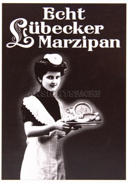 Postkarte Werbung für Lübecker Marzipan um 1905
