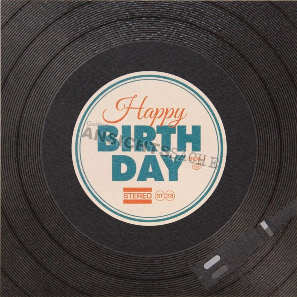 Geburtstagskarte Schallplatte