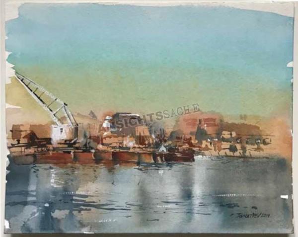 "Aquarell ""Lübeck Gollanwerft"""