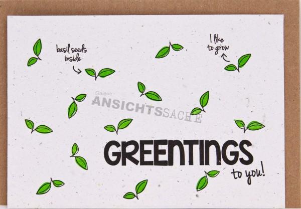 "Pflanzbare Karte ""Greentings to you!"""