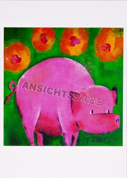 Postkarte Schwein von J.Wolf