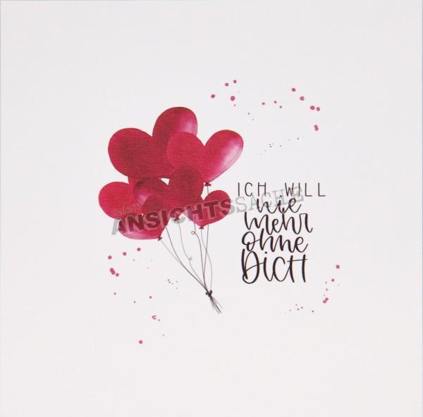 """Postkarte """"Ich will nie mehr ohne dich"""""""