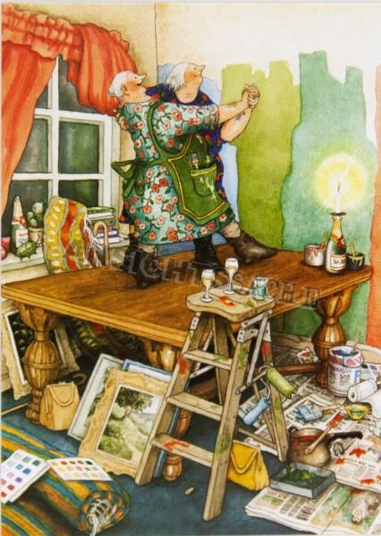 Postkarte Tanz auf dem Tisch (I.Löök)