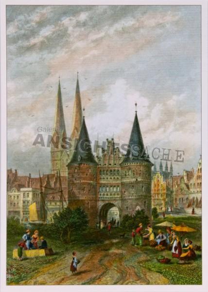 Postkarte Holstentor Stahlstich 1876