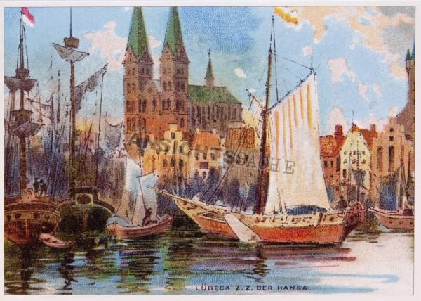 Postkarte Lübeck zur Zeit der Hanse um 1900