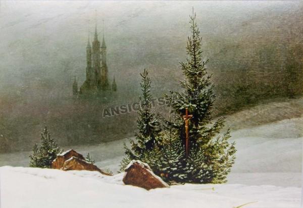 """Postkarte """"Caspar David Friedrich - Winterlandschaft mit Kirche"""""""