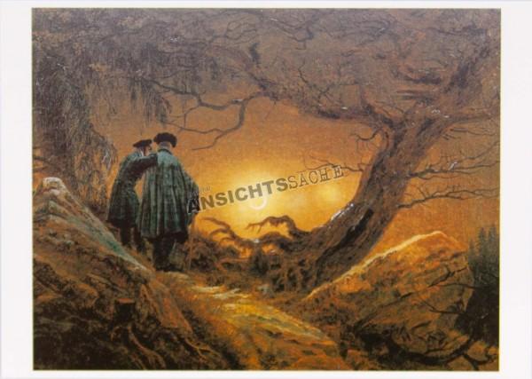 """Postkarte """"Caspar David Friedrich - Zwei Männer in Betrachtung des Mondes"""""""