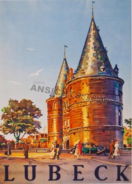 Postkarte Holstentor Plakat um 1950