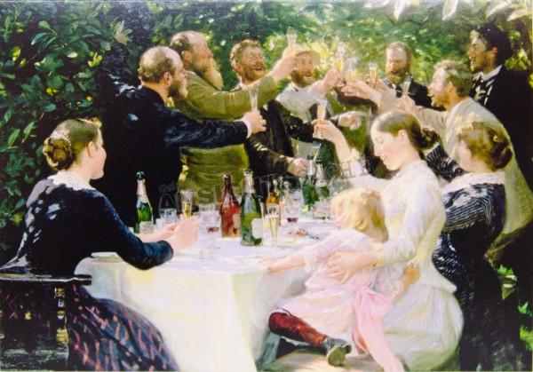 """Postkarte """"P. S. Krøyer - """"Hip Hip Hurrah!"""" Feier der Künstler in Skagen"""""""
