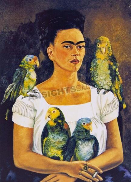 """Postkarte """"Frida Kahlo - Selbstporträt: Ich und meine Papageien"""""""