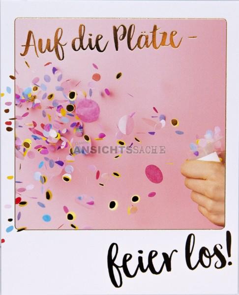 """Geburtstagskarte """"Auf die Plätze - feier los!"""""""